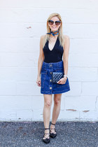 navy Topshop skirt - navy Hermes scarf - navy Chanel bag - black BP sunglasses