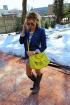 yellow bag - gray sam edelman boots - white Sheinside dress