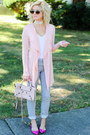 Heather-gray-refuge-jeans-peach-balenciaga-bag-camel-ray-ban-sunglasses