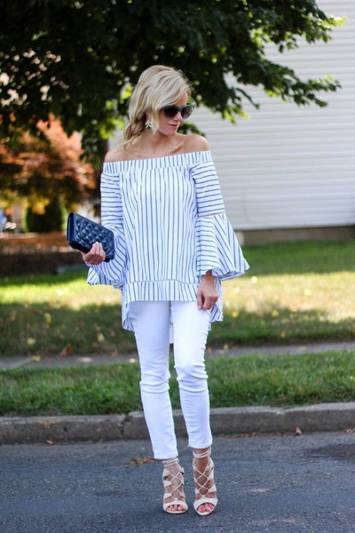 white Make Me Chic top - white kind of jeans - navy Chanel bag