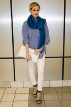 white tildon bag - blue Forever 21 shirt - scarf - blue Five Below scarf