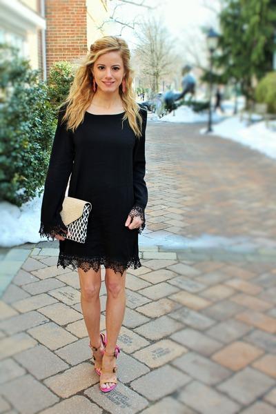 black Shop 1802 dress - black loeffler randall bag - black sunglasses