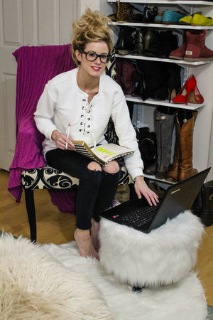 black Topshop pants - white Forever 21 top - black ray-ban glasses
