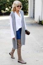 white Frenchi blouse - tan Qupid boots - navy Sheinside jeans