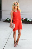 carrot orange Topshop dress - nude Halogen bag - tan Freyrs sunglasses