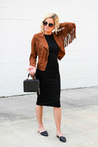 bronze castro fashion jacket - black Topshop dress - black Topshop bag