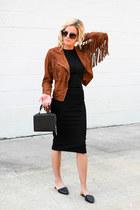 bronze castro fashion jacket - black Topshop dress - black Topshop bag