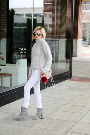 silver Sheinside sweater - heather gray Forever 21 boots