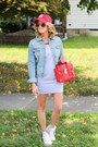 Heather-gray-mint-julep-dress-red-rutgers-hat-light-blue-mossimo-jacket