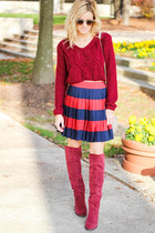 brick red Sheinside sweater - brick red shoemint boots - camel Prima Donna bag
