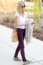 camel Ms Littles Bag bag - neutral BP coat - deep purple Fire Jeans jeans