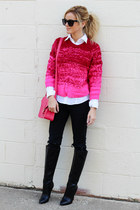 hot pink Jenabelle sweater - black Shoedazzle boots - hot pink Angela Roi bag