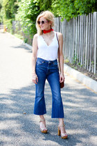 white madewell t-shirt - navy asos jeans - red Forever 21 scarf