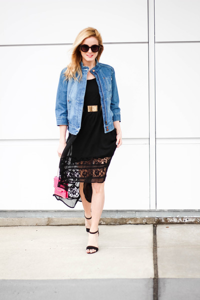 blue French Connection jacket - black Band of Gypsies dress