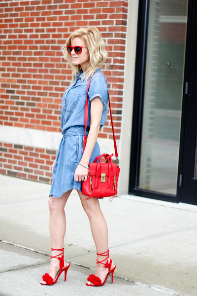 red 31 Phillip Lim bag - blue Silver Jeans dress - red ray-ban sunglasses
