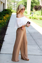 camel Missguided pants - dark brown tory burch bag - white Painted Threads top