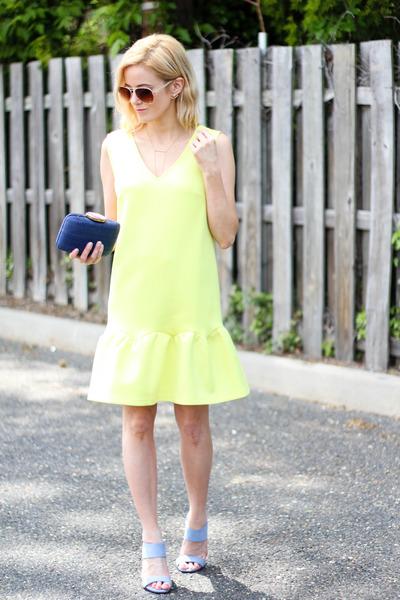 light yellow Sheinside dress - navy kayu design bag