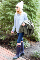 blue Halogen top - navy Hunter boots - white Capelli hat