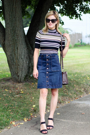 navy Jag Jeans skirt - dark brown Zara bag - black asos heels