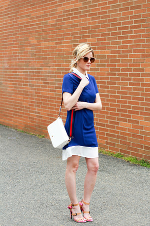 white Nordstrom bag - blue Sheinside dress - nude Bottega Veneta heels