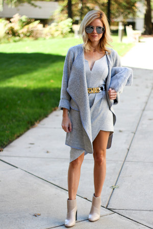 heather gray Sheinside cardigan - neutral calvin klein boots