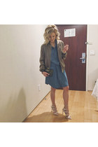 olive green Missguided jacket - navy Silver Jeans dress - navy kayu design bag