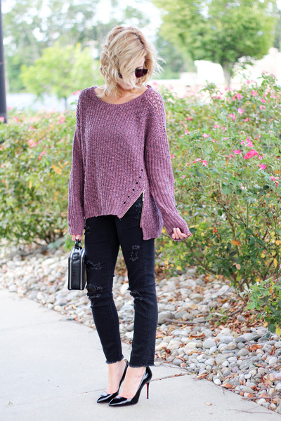 magenta Silver Jeans sweater - black Silver Jeans pants