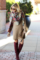 tan Socal Gems scarf - crimson shoemint boots - tan Cotton Emporium dress
