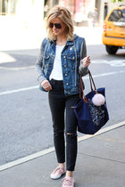 navy Silver Jeans jacket - Topshop jeans - longchamp bag - Old Navy sneakers