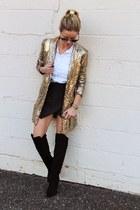 gold Nasty Gal blazer - black Forever 21 boots - sunglasses - sunglasses