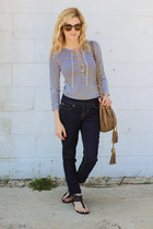 tan Bauble Bar earrings - navy Jag Jeans jeans - camel see by chloé bag