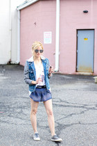 blue Ivy Park shorts - blue Silver Jeans jacket - silver Freyrs sunglasses