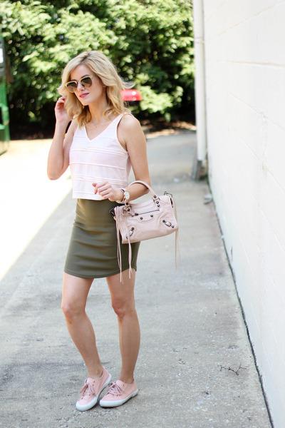 peach Topshop top - peach balenciaga bag - dark khaki Missguided skirt