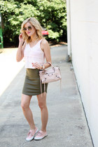 peach Topshop top - peach balenciaga bag - dark khaki Missguided skirt
