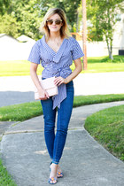 blue Paige Denim jeans - blue Schutz heels - blue Make Me Chic top