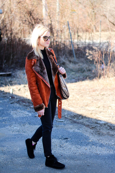 black Isabel Marant boots - tawny Sheinside coat - black Chanel sunglasses