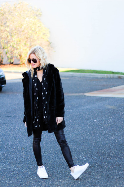 black Sheinside coat - black Target scarf - black Topshop bag