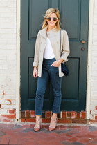 dark khaki Jag Jeans jacket - navy Chanel bag - dark gray Jag Jeans pants