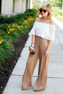 Dark-brown-tory-burch-bag-white-painted-threads-top-camel-missguided-pants