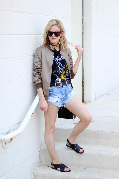 black Topshop bag - dark khaki Missguided jacket - blue Somedays Lovin shorts