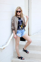 black Topshop bag - dark khaki Missguided jacket - blue Somedays Lovin shorts