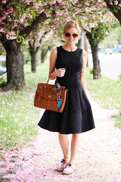black Maggy London dress - bronze street level bag - nude sam edelman sandals