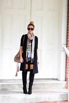 camel Banarsi designs scarf - black Forever 21 boots - black Topshop dress