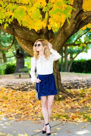 navy Sheinside skirt - navy Chanel bag - tan Sheinside blouse - navy coach heels