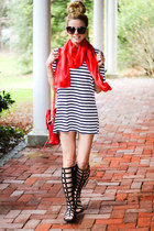 red The Scarf Shop scarf - white Sheinside dress - red 31 Phillip Lim bag