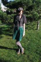 green thrifted skirt - gray Industry shirt - gray joe fresh style tights - beige