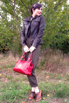 brown thrifted vintage pants - brown danier jacket - red danier bag - brown natu