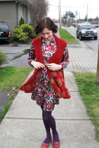 red world folk art imports cardigan - red Chadwicks dress - red roberto vianni s
