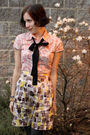 Red-thrifted-shirt-black-from-a-skirt-accessories-yellow-rw-co-skirt-gray-
