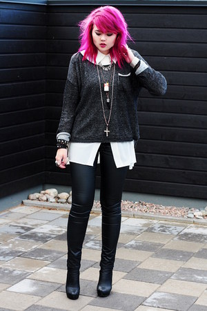 black leather pants - white sheer blouse - charcoal gray cardigan